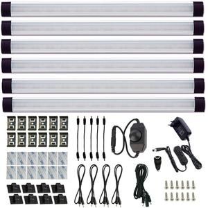 LED Schrankleuchten 6er Set, AIBOO Dimmbar Küchen Unterbauleuchte mit Schalter, Ultra Dünn Küchenbeleuchtung LED Leiste 230V für Schrank, Kleiderschrank, Bücherregal (Kaltesweiß)