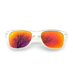 Nerdbrille Hornbrille 80s Retro Nerd Streber Sonnenbrille - rot gold