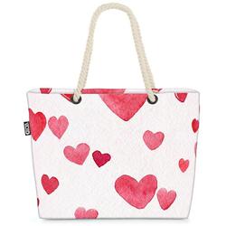 VOID Strandtasche (1-tlg), Herzmuster Beach Bag Herz Liebe Muttertag Geschenk Rot Weiss Süß Party Mama
