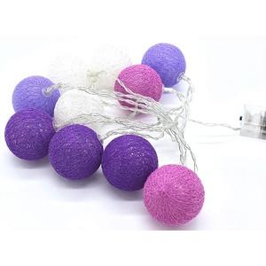 JOKA international LED-Lichterkette LED Lichterkette Cottonballs Cotton Balls in Lila 10tlg, 10-flammig