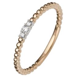 JOBO Diamantring, schmal 585 Gold bicolor mit 3 Diamanten 60