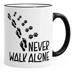 MoonWorks Tasse Kaffee-Tasse Never walk alone Hund Pfoten Hundepfoten Pfotenabdrücke Hundebesitzer MoonWorks®, Keramik schwarz