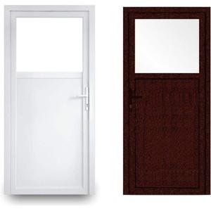 EcoLine Nebentür - Nebeneingangstür - Tür - 2-Fach, 1/3 Glas, 2/3 Füllung, außenöffnend innen: weiß/außen: Mahagoni BxH: 900 x 2000 mm DIN Rechts