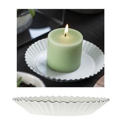 Ib Laursen Kerzenhalter Teller Schale Untersetzer Kerzenhalter Emaille Weiß Rund 13cm Ib Laursen 0461-11