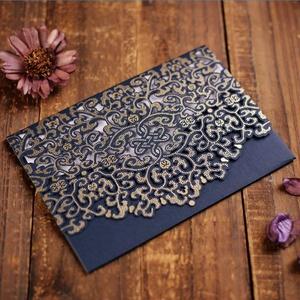 CYSKY Hochzeit Einladungskarte 50 Stück Hochzeit Einladungskarte Kit mit leeres bedruckbares Papier und Umschläge für Hochzeit, Geburtstag, Abschluss (Blau)