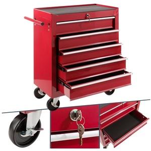 Arebos Werkstattwagen 5 Fächer, zentral abschließbar, inkl. Antirutschmatten, kugelgelagerte Schubladen, 2 Rollen mit Feststellbremse rot