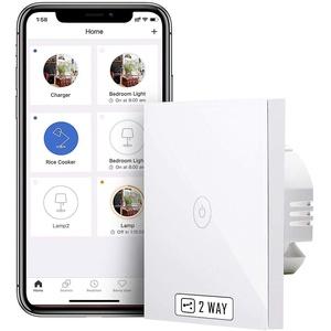 meross WLAN Wechselschalter, benötigt Nullleiter, Smart 2 Weg Lichtschalter, Kompatibel mit Alexa, Google Assistant und SmartThings, 2,4 GHz