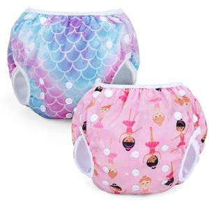 Teamoy Wiederverwendbare Schwimmwindeln(Packung mit 2), Badeanzug Windeln Waschbare Windeln für Babys & Mädchen, Meerjungfrau Waage+Ballett Mädchen