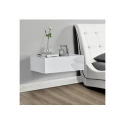 en.casa Wandregal, Elverum mit Schublade Nachttisch weiß hochglanz