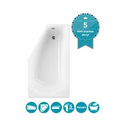 ® Raumsparende Eckbadewanne 160x90 cm, Acrylwanne Modern Small, platzsparende Badewanne in linker