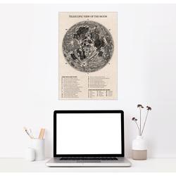 Posterlounge Wandbild, Mondkarte (englisch) 40 cm x 60 cm