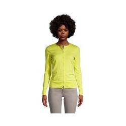 Supima Feinstrick-Cardigan, Damen, Größe: 48-50 Normal, Gelb, Baumwolle, by Lands' End, Gelb Zitrone - 48-50 - Gelb Zitrone