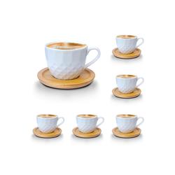 Melody Tasse Porzellan Tassen Set Teeservice Kaffeeservice mit Bambus Untertassen 12-Teilig (12-tlg), Porzellan, Espressotassen, 6er-Set, mit Bambus Untertassen braun 10 cl - 100 ml - Ø 6.5 cm x 6.5 cm x 6 cm