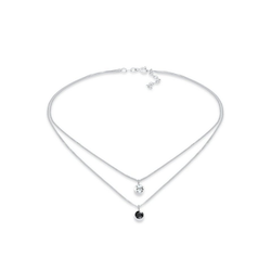 Elli Kette mit Anhänger Choker Layer Swarovski® Kristalle Rund 925 Silber, Kristall Kette silberfarben