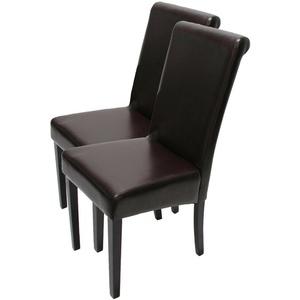 2x Esszimmerstuhl Stuhl Lehnstuhl Lecce II, Leder braun, dunkle Beine