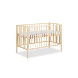 Clamaro Babybett, Clamaro 'Nap' 120 x 60 Babybett Gitterbett aus Kiefernholz inkl. Lattenrost (3-fach höhenverstellbar) mit 3 herausnehmbaren Gitterstäben - Kinderbett Maße: 125 x 66 x 85 cm natur