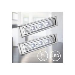 B.K.Licht LED Schrankinnenraumbeleuchtung, LED Schranklicht Unterbauleuchte Push ON/OFF batteriebetrieben selbstklebend 2er SET