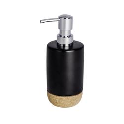 WENKO Corc Seifenspender, 360 ml, Nachfüllbarer Pumpspender ideal für Bad, Küche und Gäste-WC, Farbe: Schwarz/ Braun