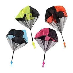 kueatily Langregenschirm Kinderhandwurf Fallschirm, 4 x Handwurf Fallschirm Spielzeug, Kinder Fallschirm Spielzeug, Kinder Fallschirm Spielzeug (4 Stück)
