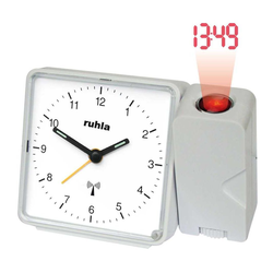 UMR Ruhla Projektionswecker Funkwecker mit Projektion weiss RC-Clock 505-2
