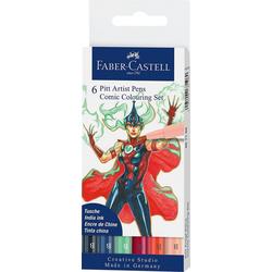 Faber-Castell Dekorierstift Pitt Artist Pen Tuschestift Comic, 6 Farben