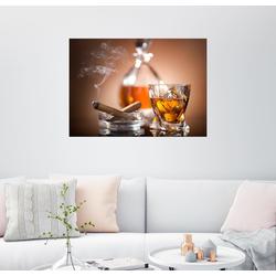 Posterlounge Wandbild, Glas Whisky und eine Zigarre 80 cm x 60 cm