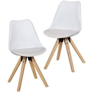 FINEBUY Esszimmerstuhl SuVa5057_1 Design Esszimmerstühle 2er Set Skandinavische Stühle mit Holzbeinen, Retro Stuhlset Kunststoff, Küchenstühle mit Kunstleder, Lehnenstuhl Modern, Küchenstuhl Esszimmer weiß