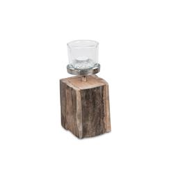 formano Windlicht Windlicht Holz Antik+Alu (1 Stück)