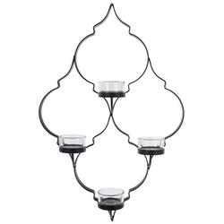 elbmöbel Wandkerzenhalter Wandkerzenhalter mit 4 Teelichthaltern, Wandkerzenhalter: 4 Teelichtgläser 27x39x10 cm metall schwarz oriental style