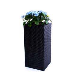 Blumenkübel, Übertopf Polyrattan Säule 30x30x80cm schwarz.