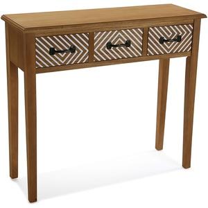 Versa Severn Schmales Möbelstück für den Eingangsbereich oder Flur, Moderner Konsolentisch, mit 3 Schubladen, Maßnahmen (H x L x B) 30 x 90,5 x 12 cm, Holz, Farbe: Braun