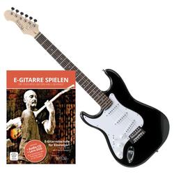 Rocktile Pro ST3-BK Linkshänder (Lefty) E-Gitarre Schwarz + Gitarren-Schule