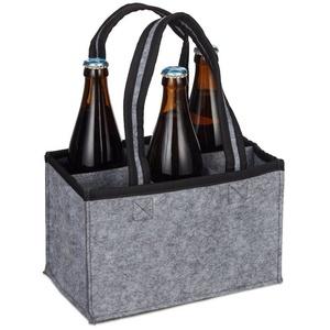 relaxdays Aufbewahrungstasche 6er Flaschenträger Filz
