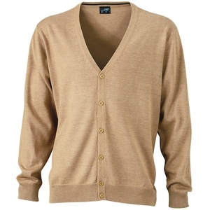 James & Nicholson Herren V-Neck Cardigan Strickjacke, Beige (Camel), XXX-Large