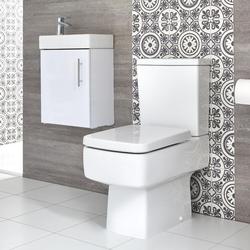 Eckiges Stand-WC und Hängewaschtisch Set, Unterschrank B 400mm Farbe wählbar, von Hudson Reed