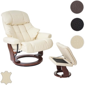 MCA Relaxsessel Calgary XXL, TV-Sessel Hocker, Echtleder 180kg belastbar ~ creme, Walnuss-Optik