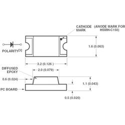 Broadcom HSMS-C150 SMD-LED 1206 Rot 10 mcd 170° 20mA 2.1V Tape cut