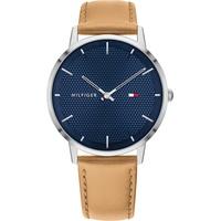 Tommy Hilfiger Herren Analoger Quarz Uhr mit Echtes Leder Armband 1791652