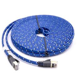 vhbw Netzwerkkabel LAN Kabel Patchkabel Cat7 10m blau flach