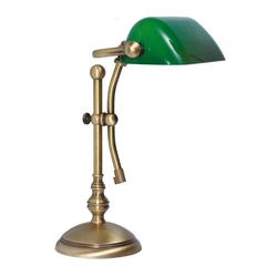 Licht-Erlebnisse Schreibtischlampe LAMPADE MINISTERO Tischlampe Messing Bronze Grün Jugendstil Lampe