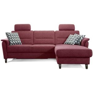 Cavadore Schlafsofa Palera mit Federkern / L-Form Sofa mit Bettfunktion / 244 x 89 x 164 / Stoff Rot