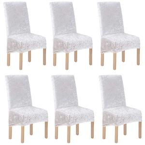 XL-Stuhlhussen aus Pannesamt, für Esszimmerstühle, 2/4/6 Stück, elastische Stuhlschonbezüge für Esszimmer, Hochzeit, Bankett, Party, Dekoration (weiß-g, 6 Stück (XL))