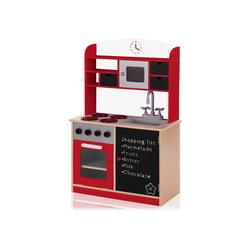 Baby Vivo Spielküche Kinderküche Spielküche aus Holz mit Tafel - Mila in Rot