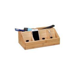 relaxdays Schreibtischaufsatz Schreibtisch-Organizer Bambus