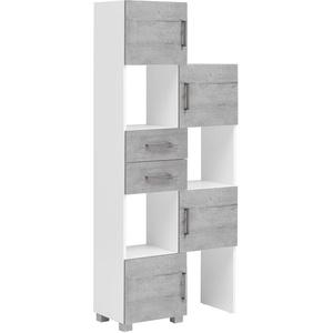 Schildmeyer Samu Schieberegal 701615, weiß glanz / steingrau, Ausziehbar von 36 - 68 cm