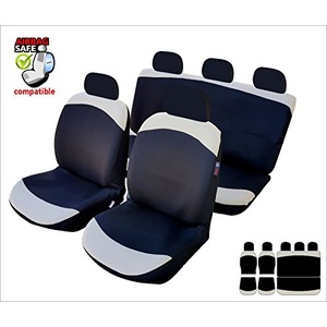 Akhan SB617 - Sitzbezug Set Sitzbezug Sitzbezüge Schonbezüge Schonbezug mit Seitenairbag Schwarz / Beige