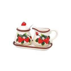 SIGRO Zuckerdose 3er Set Dolomite Zuckerdose mit Löffel und Milchkä, Keramik