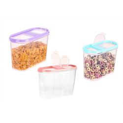BigDean Müslibox 3x Schüttdosen inkl. 3 Deckel − 1,4 Liter Volumen − Streudosen 2 Öffnungen, Vorratsdosen für Müsli, Cornflakes, Kaffee, Kunststoff, (3-tlg)