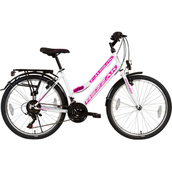 Rezzak Cityrad 26 Zoll Damen Fahrrad Mädchen Fahrrad 21 Gang Shimano Schaltung Weiss Pink, 21 Gang Shimano, Kettenschaltung