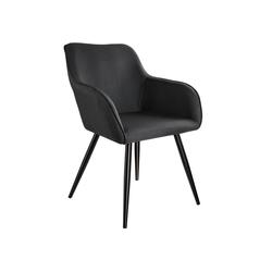 tectake Esszimmerstuhl Stuhl Marilyn Leinenoptik, schwarze Stuhlbeine schwarz